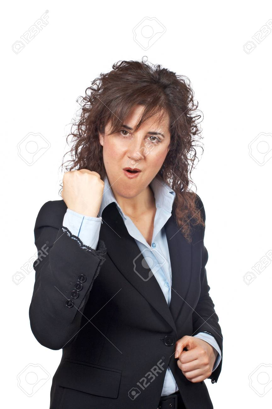 Excited businesswoman gesture over a white background Stock Photo - 808990