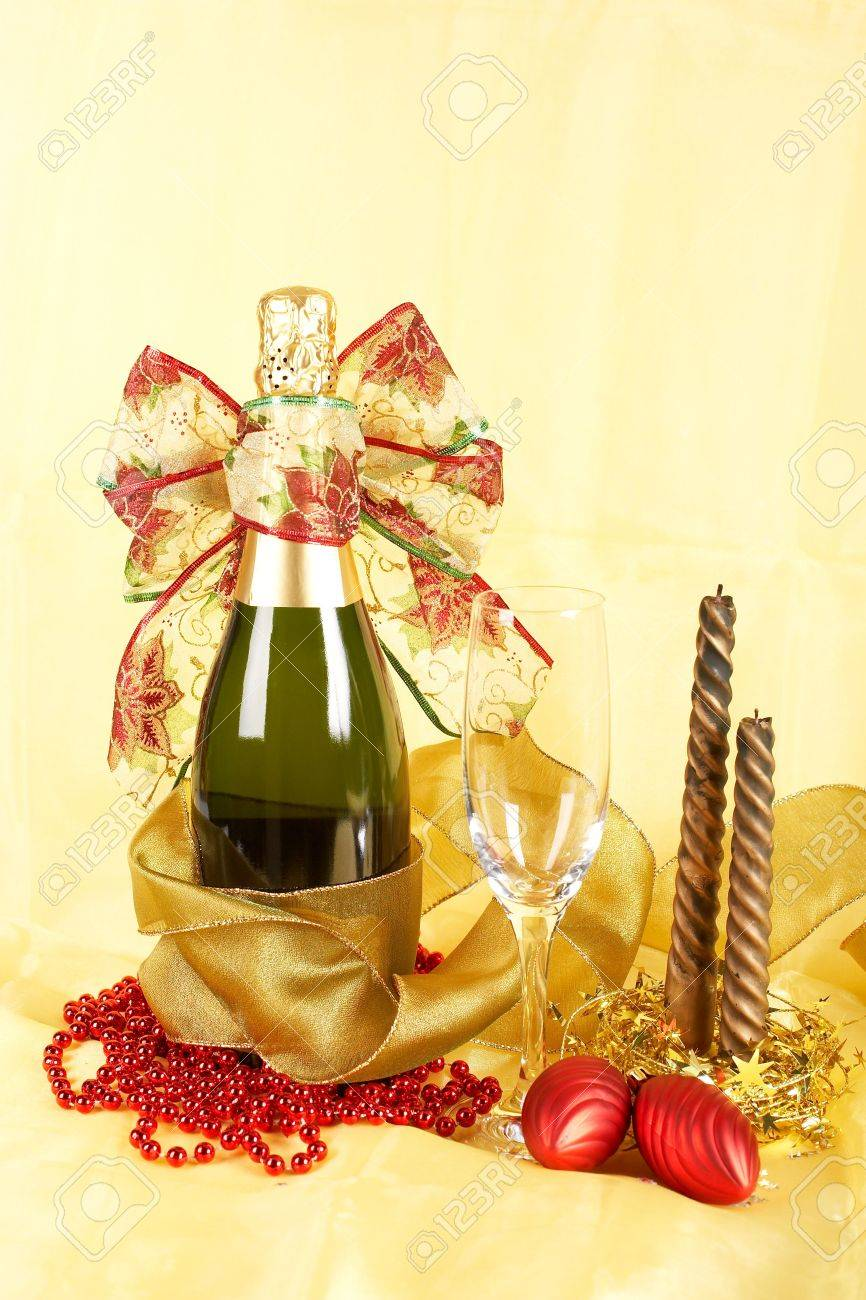 Champagne Bottle Decoration Christmas Decoration With Champagne Bottle Empty Glass And
