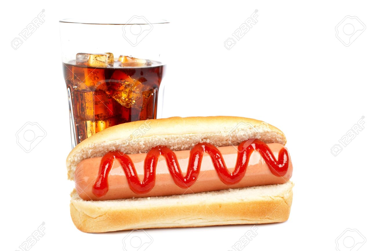A hot dog and soda glass, reflected on white background. Shallow DOF Stock Photo - 2268815