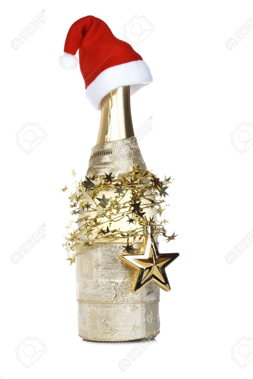Champagne Bottle Decoration Christmas Decoration And Champagne Bottle With Red Hat Reflected