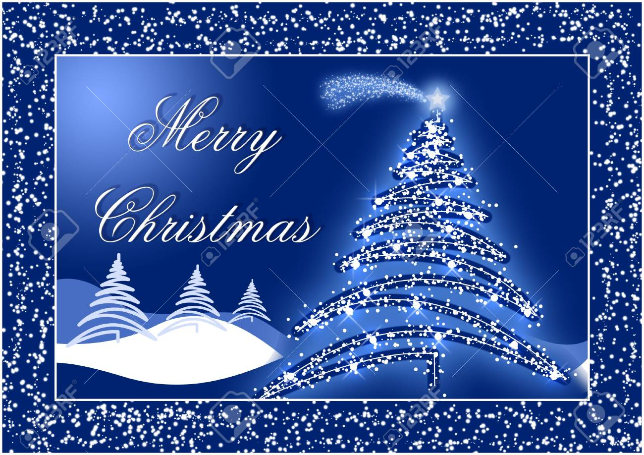 Blue Christmas postcard with trees and snow Stock Photo - 2046297