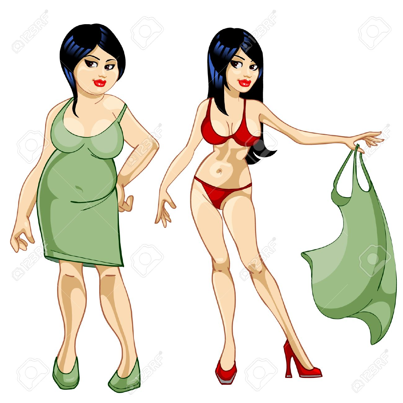 thick girl in a dress and a thin girl in a bathing suit royalty free