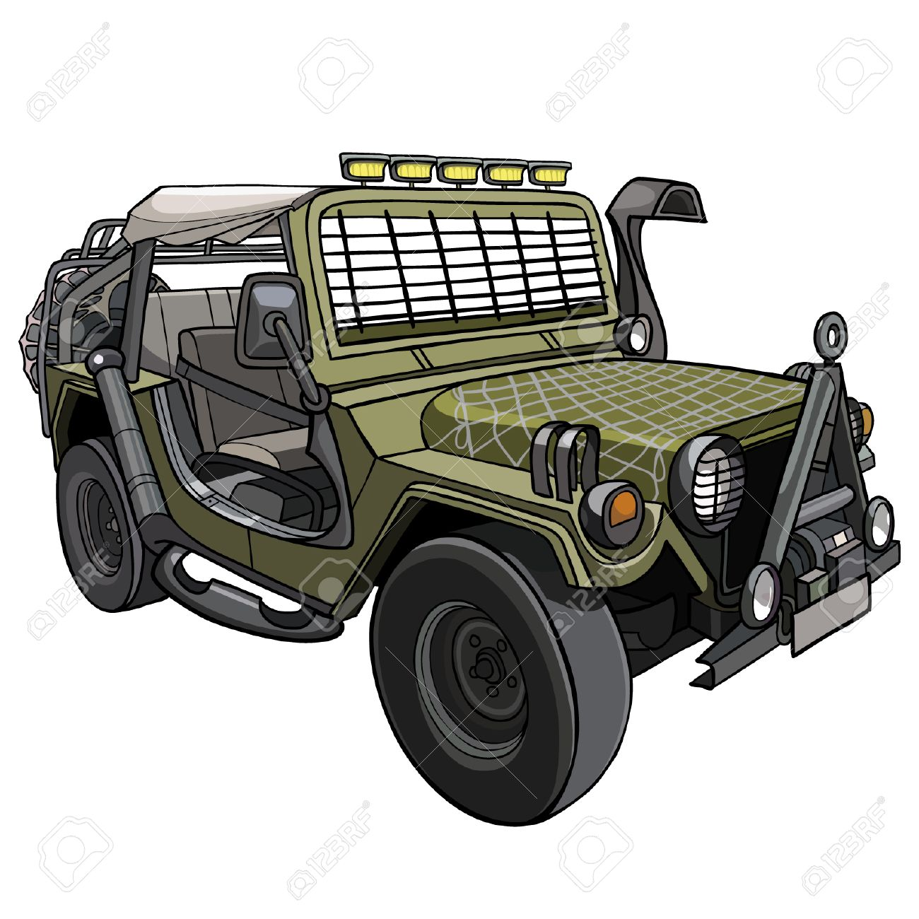 Cartoon Car Military SUV With Awning And Canopies Stock Vector