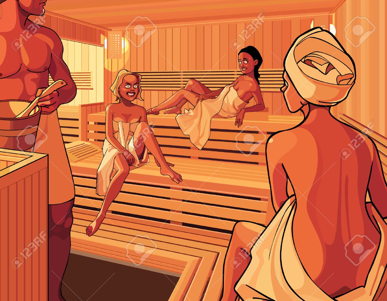 Sexy girls in sauna — 1