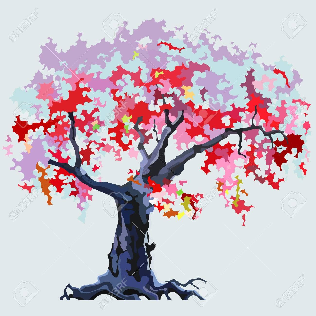 Dibujos Animados De árboles De Color Rosa En Flor Ilustraciones  Vectoriales, Clip Art Vectorizado Libre De Derechos. Image 37707721.