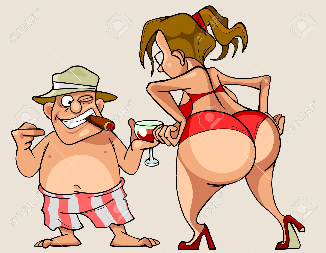 cartoon woman with big ass in a bathing suit and man in shorts