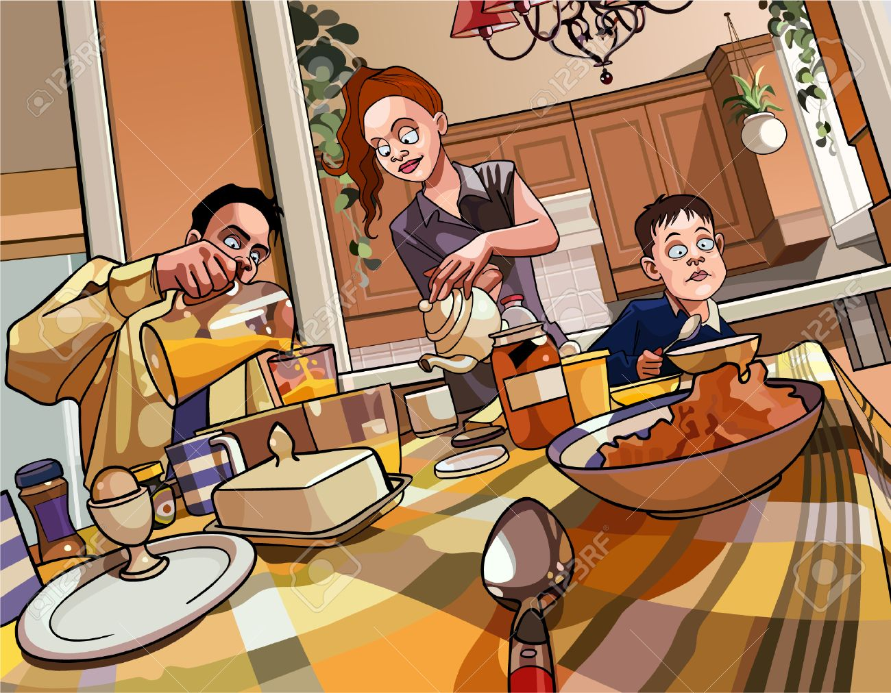 mesa de desayuno de la familia de dibujos animados Foto de archivo - 38905177