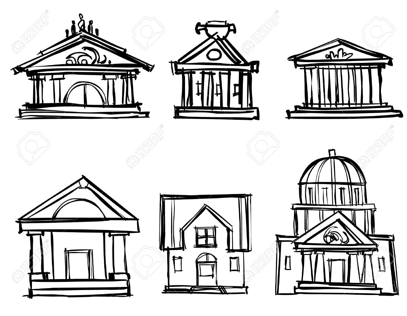 City Buildings Theaters To Draw A Pencil Royalty Free Cliparts