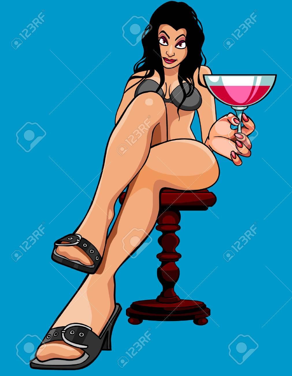 Dessin Anime Sexy dessin animé femme sexy assis avec un verre clip art libres de