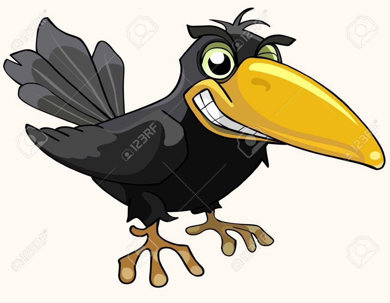Historieta Del Pájaro Enojado Cuervo Sonriendo Ilustraciones ...