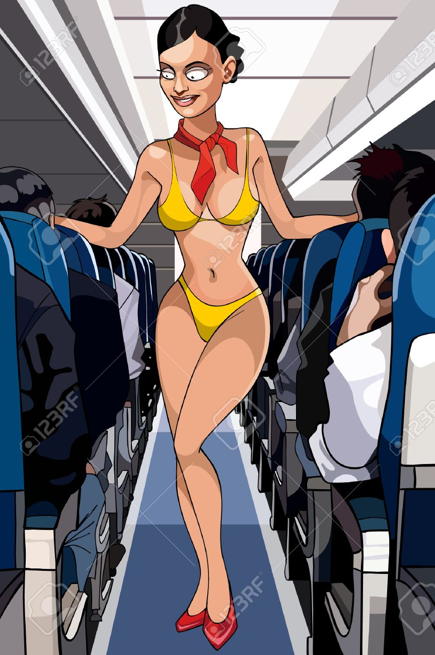cartoon sexy stewardess in a bathing suit in the cabin royalty free