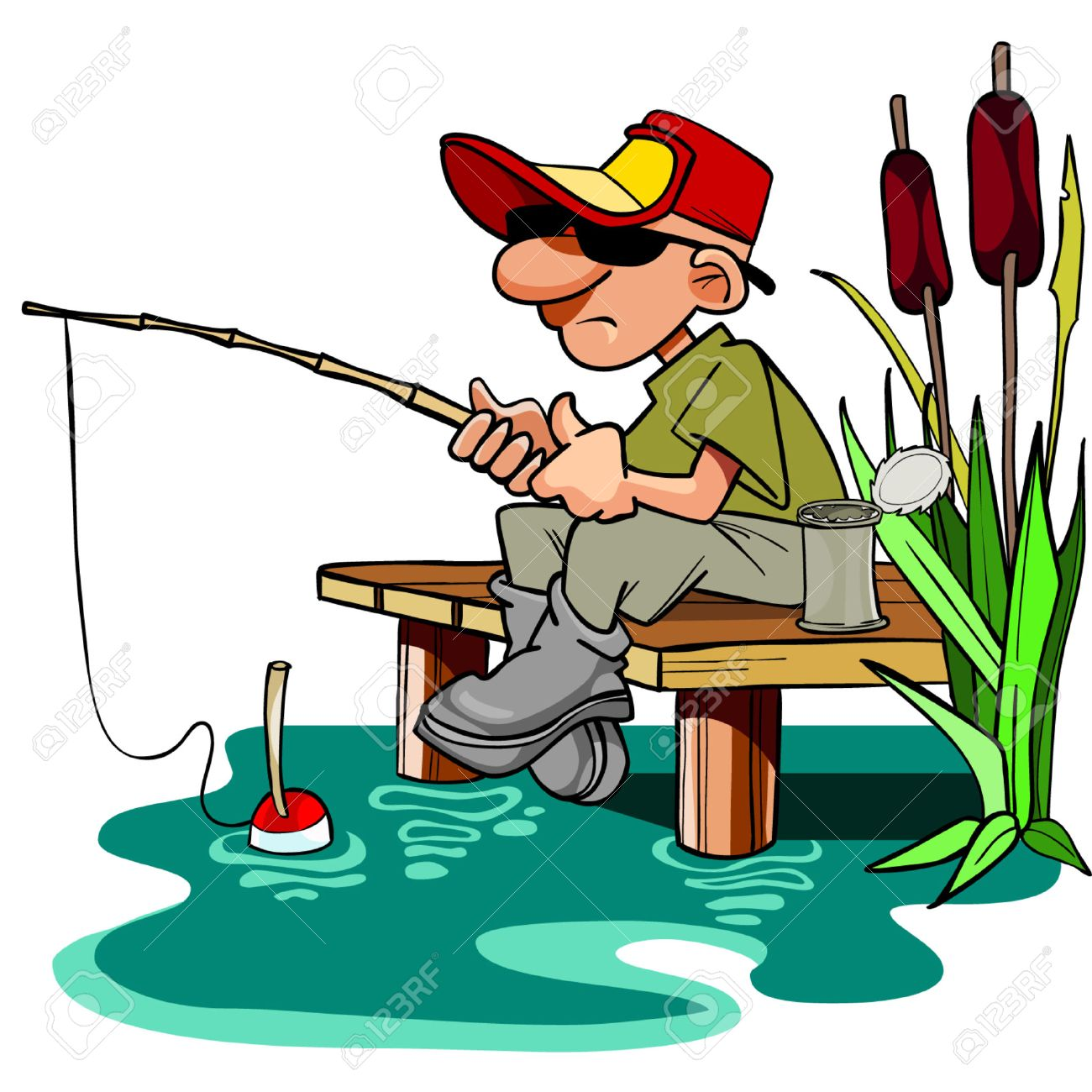 6 193 man fishing stock illustrations cliparts and royalty free man rh 123rf com Funny Fishing Clip Art gone fishing clipart free