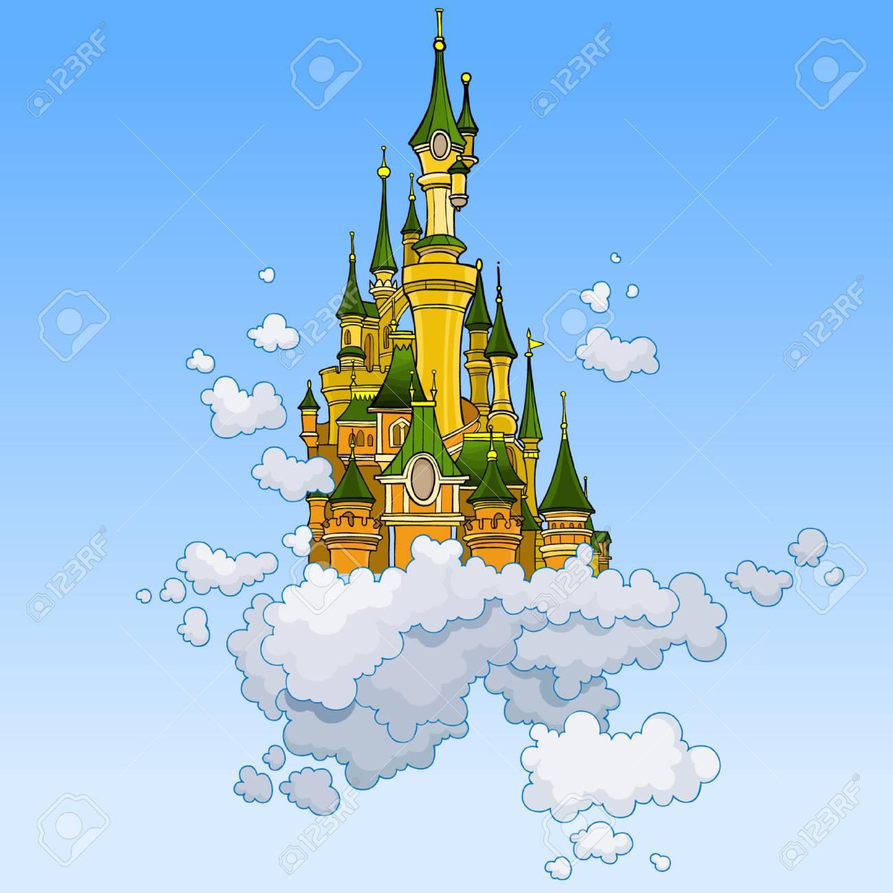 Un Chateau Dans Les Nuages château fantastique dessin animé voler dans les nuages
