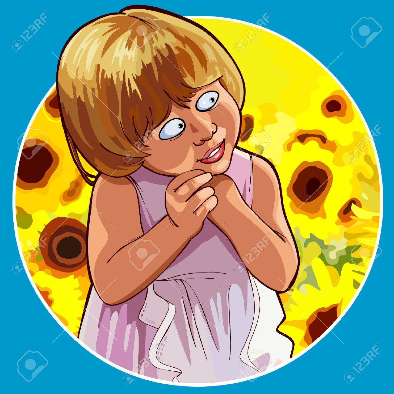 Cartoon Funny Little Girl Shy Standing In Sunflowers Stock Vector