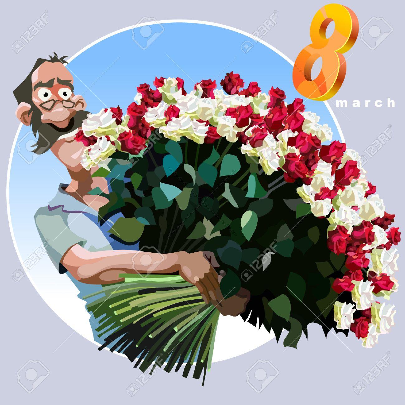 L Homme De Bande Dessinee Avec Un Enorme Bouquet De Fleurs Pour