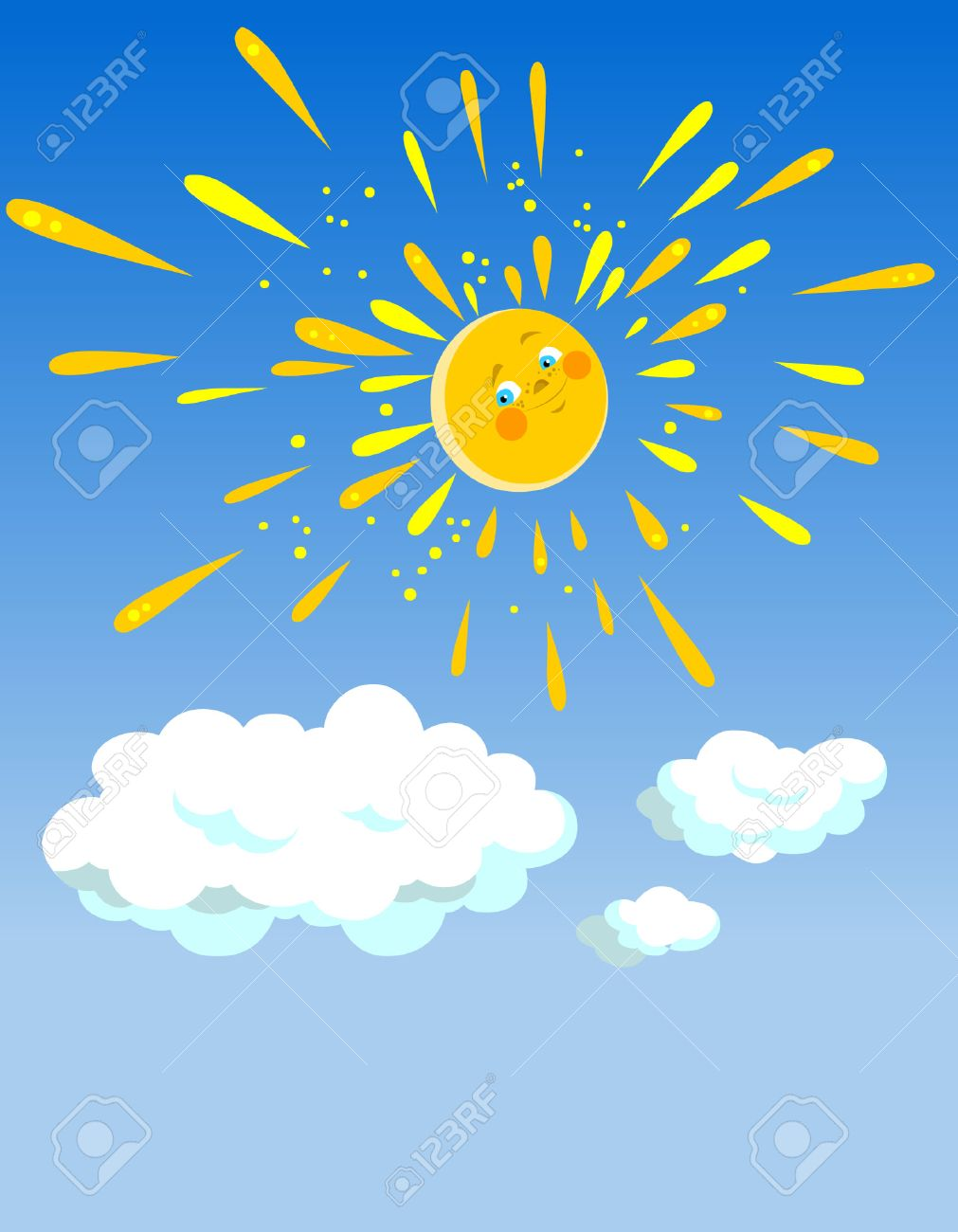 Dessin Anime Soleil Joyeux Dans Le Ciel Avec Des Nuages Clip Art