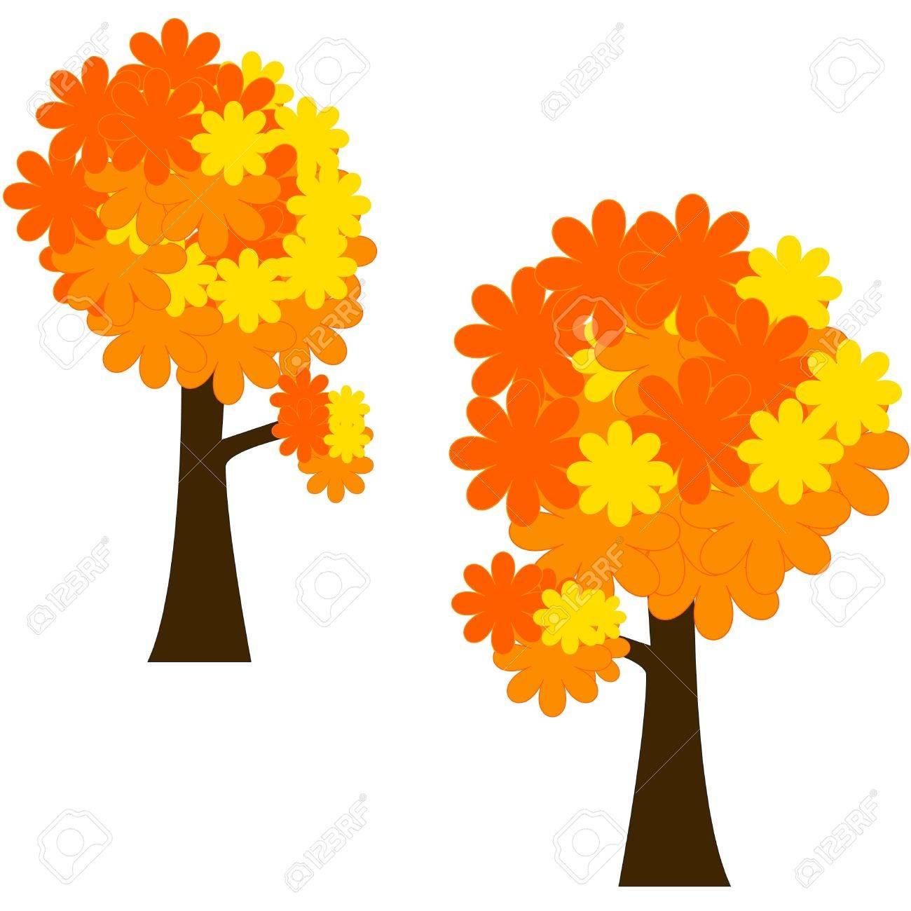 Herbst Baum Mit Stilisierten Blättern Clipart Lizenzfrei Nutzbare