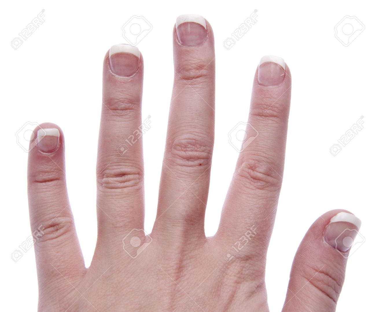 Hand With Short Nails Done In A French Manicure. Stock Photo ...