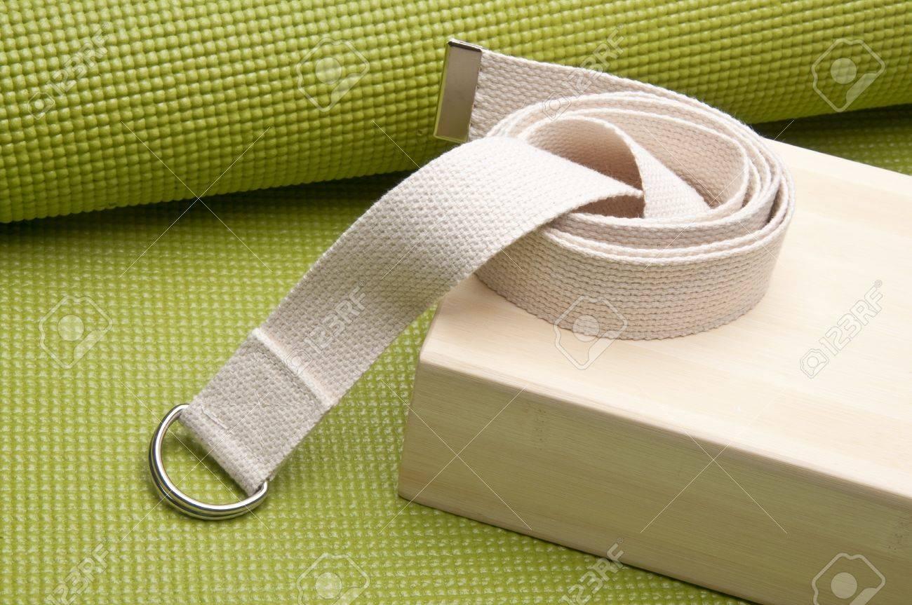Yoga Practice Equipment : Mat, Strap and Bamboo Block. Stock Photo - 7237251