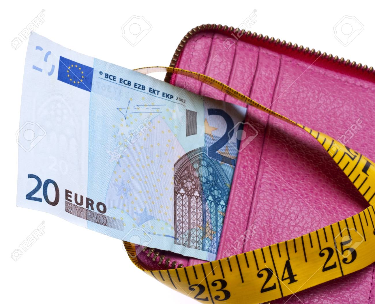 Tight Budget Concept with Open Wallet with Money Squeezed by a Measuring Tape. Stock Photo - 7747130
