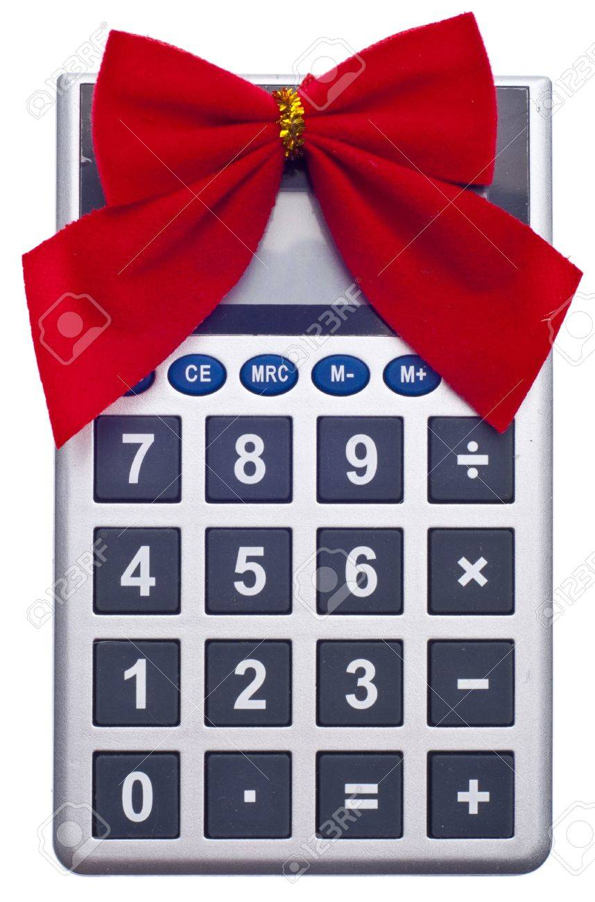 calculator with holiday bow christmas budget concept stock photo