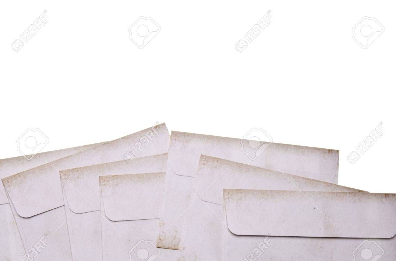 envelopes for letter writing border isolated on white with a clipping path perhaps for a