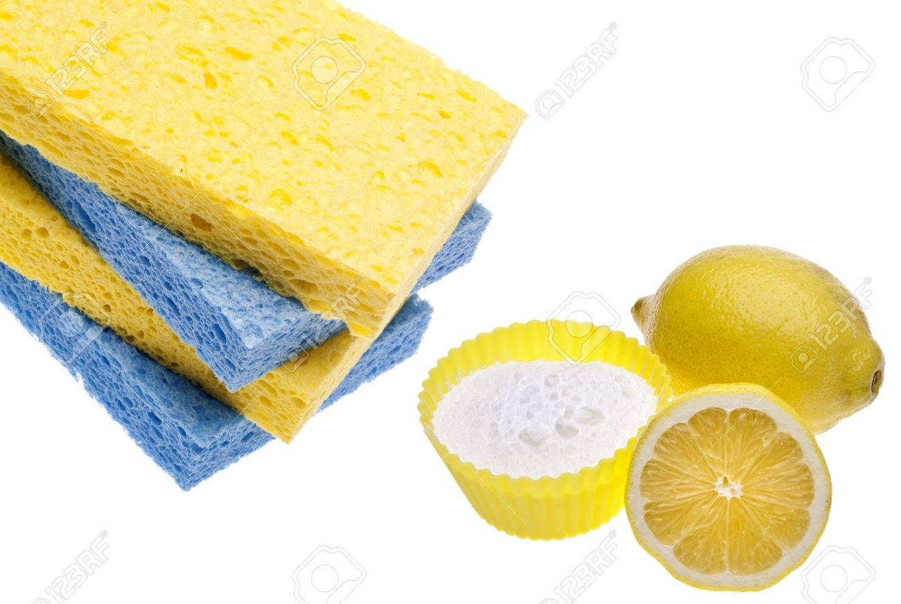 Natural Cleaning with Lemons, Sponges and Baking Soda Environmentally Friendly Concept. Stock Photo - 8790127