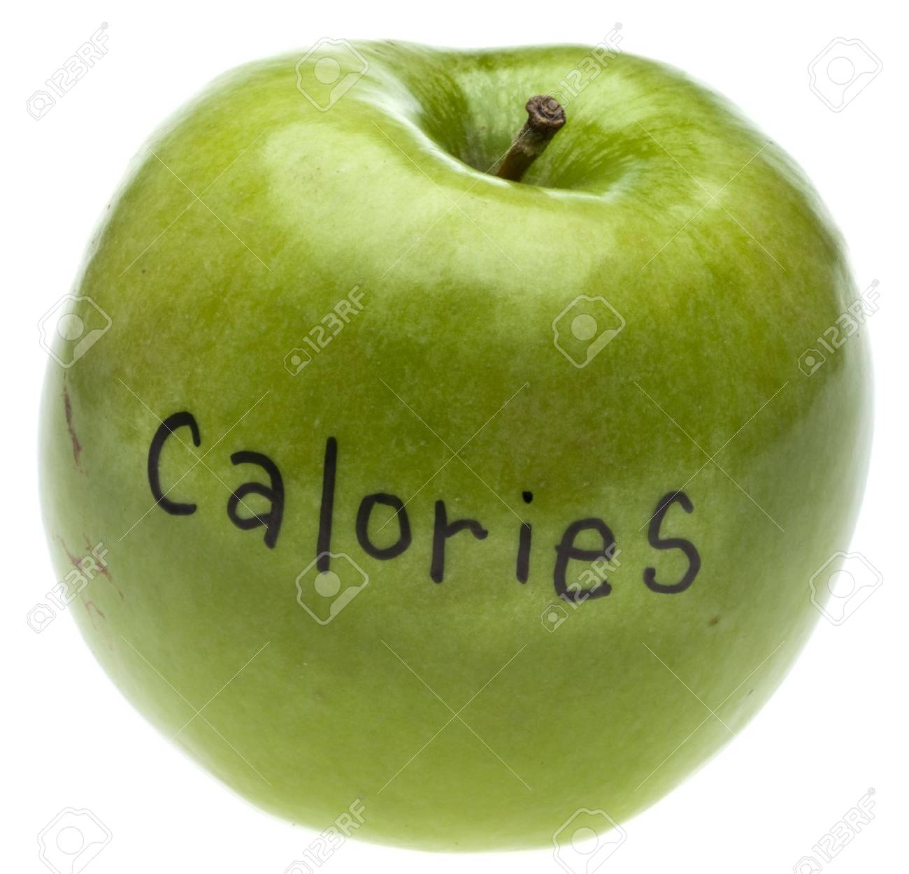 Calorie Concept Apple Isolated on White Stock Photo - 8790158