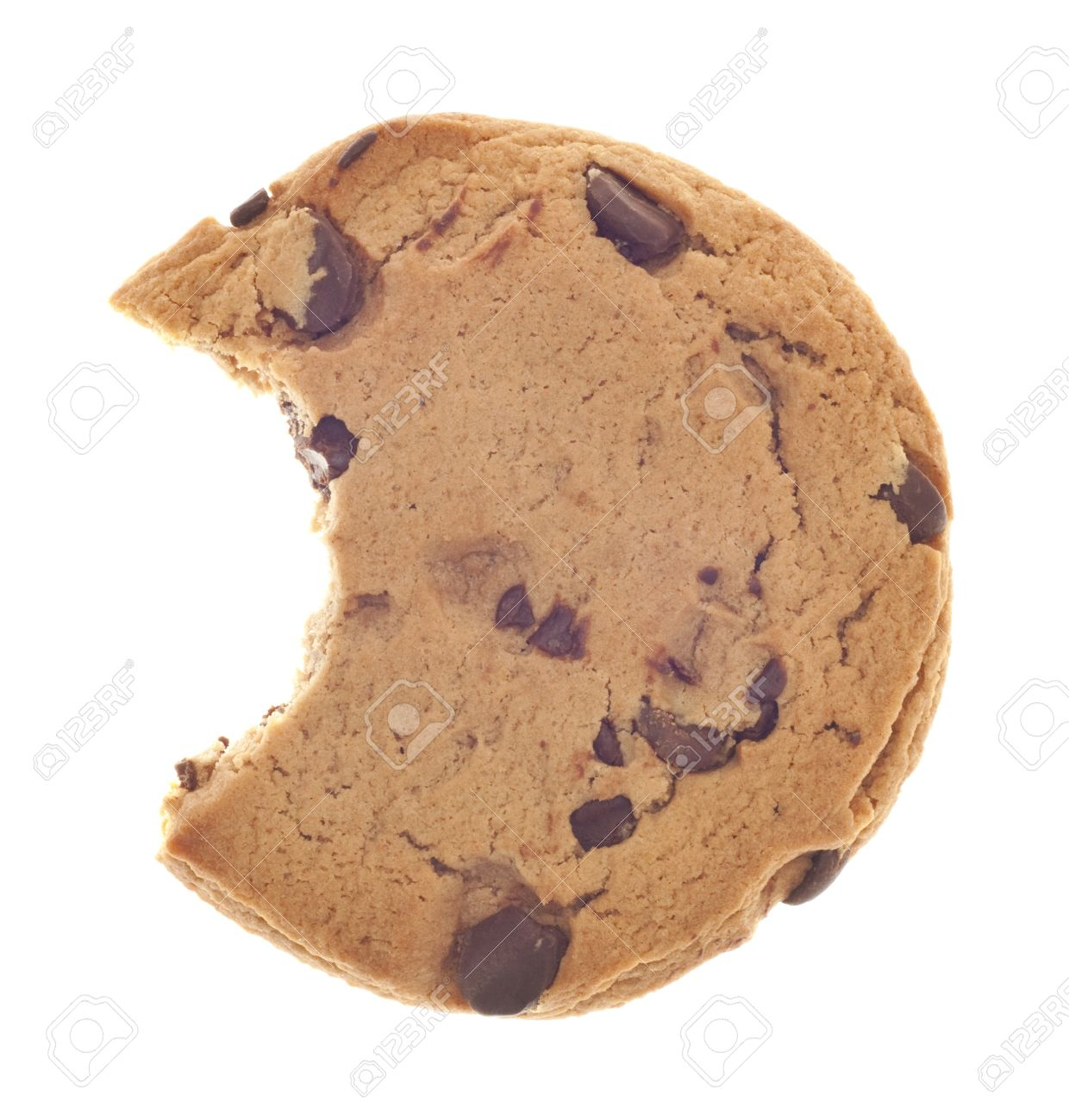 Chocolate Chip Cookie Snack with Bite Taken Isolated on White Stock Photo - 9037477