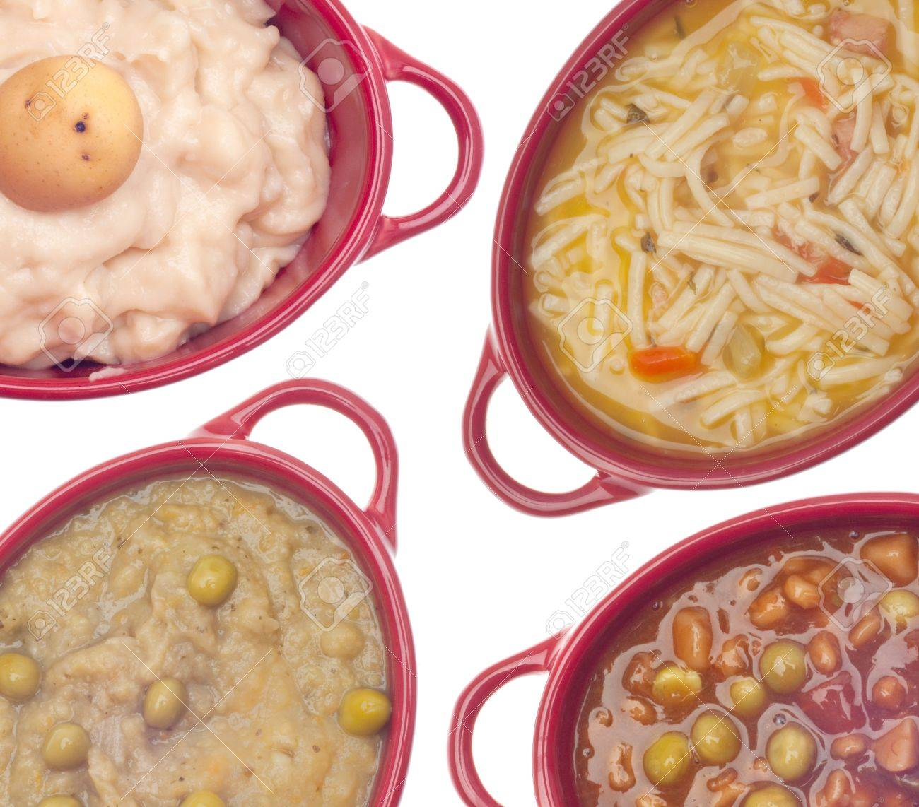 Cream Of Potato Soup Beef Vegetable Soup Classic Chicken Noodle Soup And Split