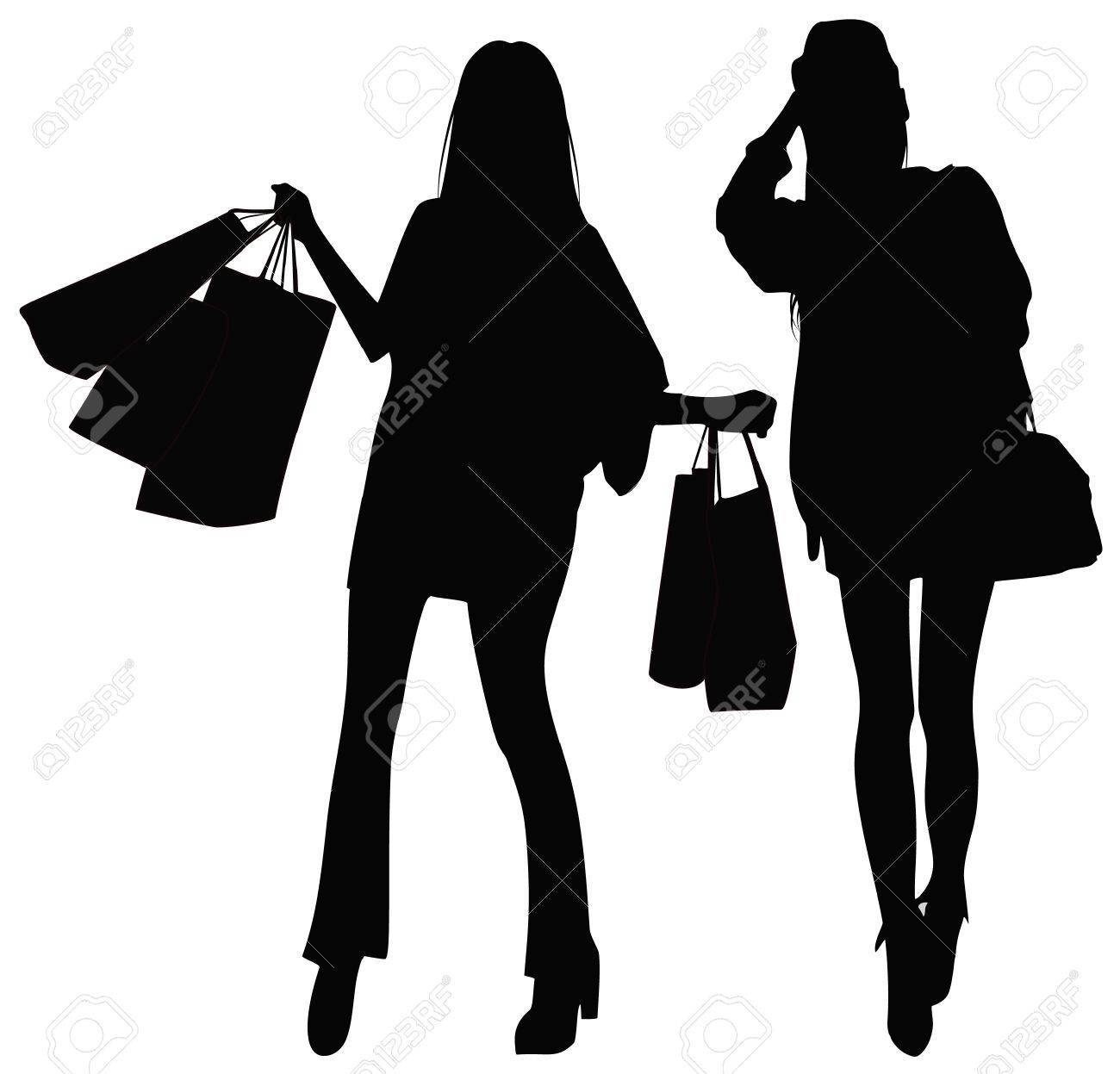 Silhouettes of two girls Stock Vector - 8397413