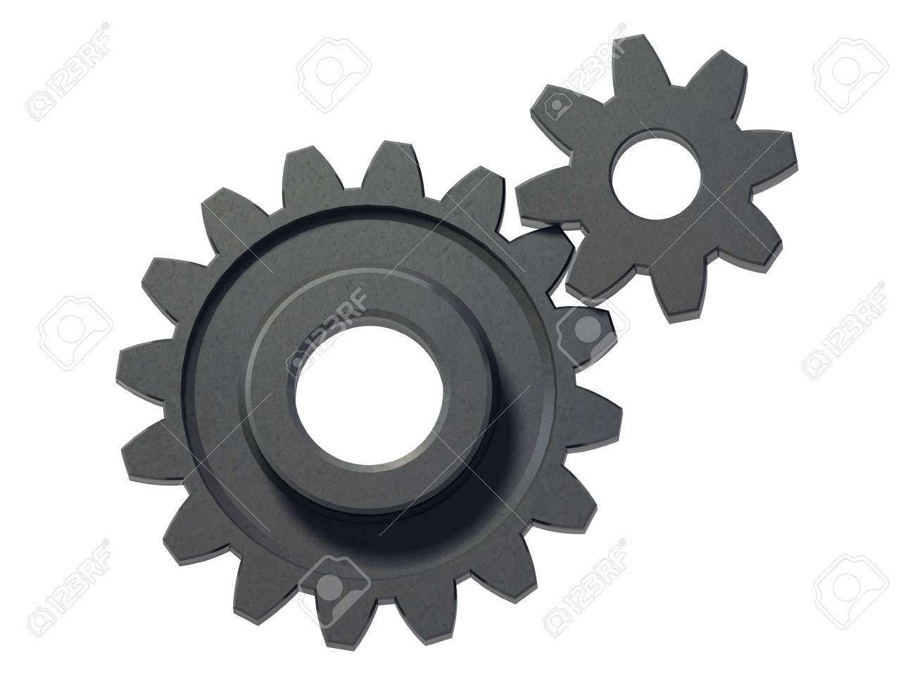 An isolated two small cogwheels on white background Stock Photo - 2828239