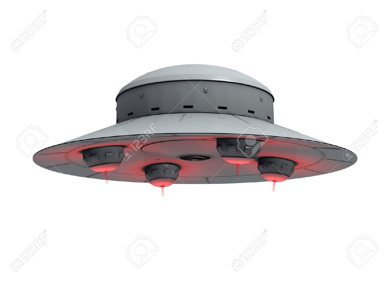 Ufo Transparent Background An isolated gray ufo with red