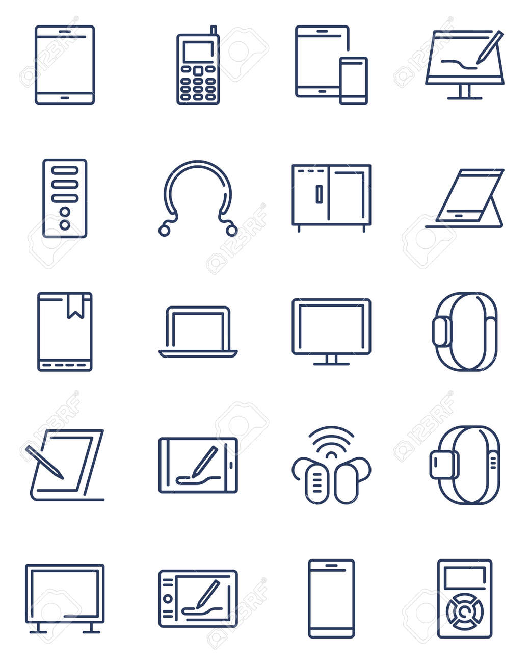 Digital devices line icon set. Computer, server, laptop, tablet, mobile phone and other electronic equipment. Vector icon collection for smart technology, multimedia gadgets topics - 148711409