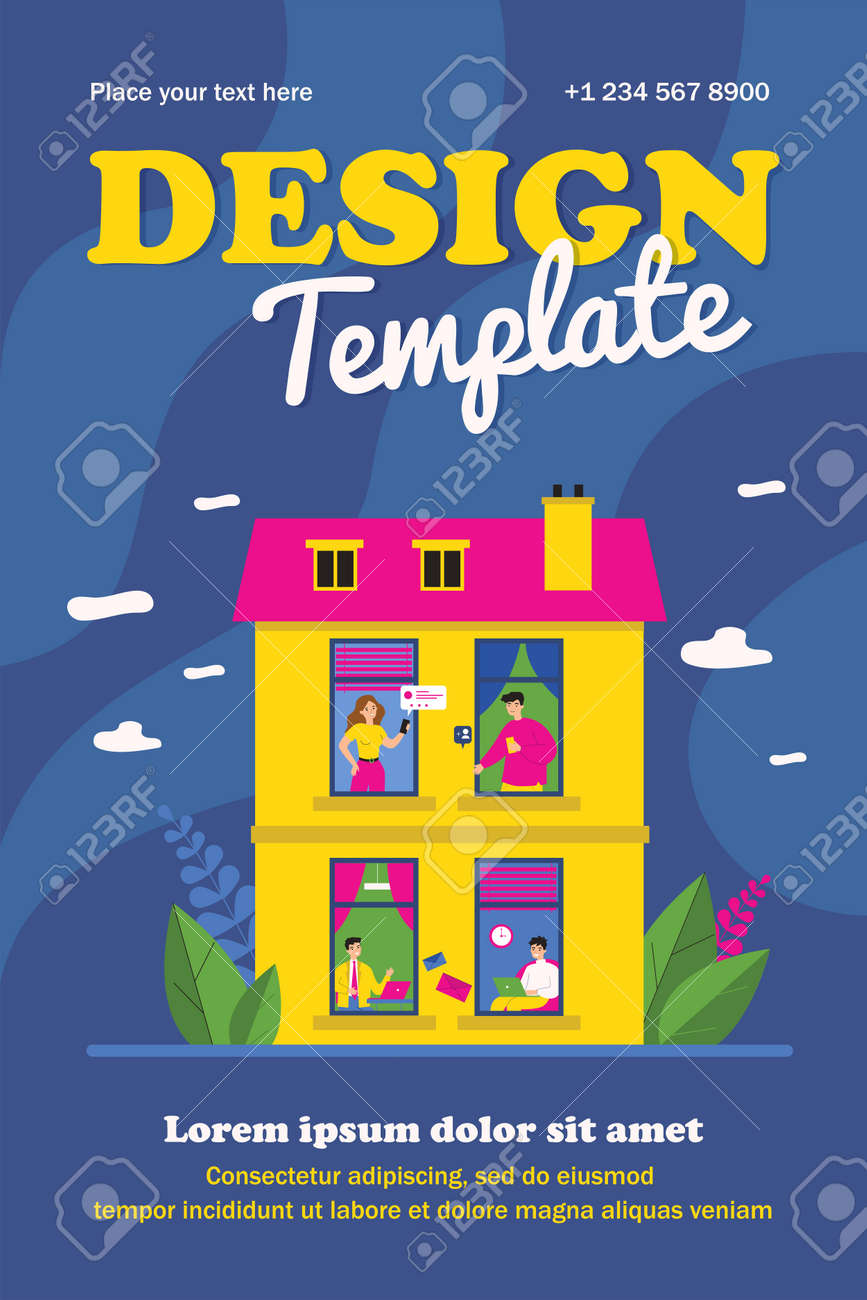 Various people using digital devices in windows. Laptop, smartphone, chat flat vector illustration. Accommodation and neighborhood concept for banner, website design or landing web page - 162478440