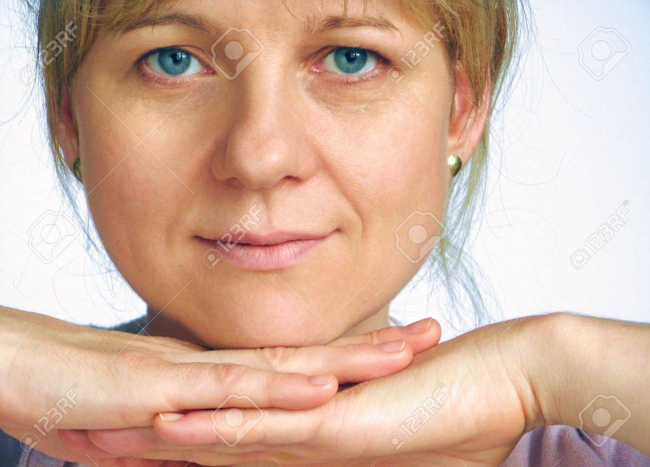 Correction of wrinkles on half of face Stock Photo - 4126607