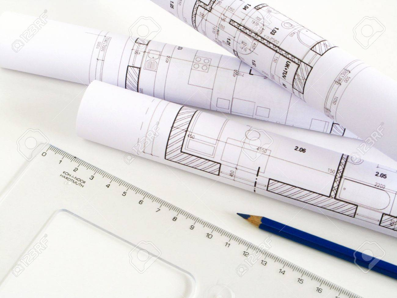 Architectural Sketch Of House Plan Stock Photo  Picture And    Stock Photo   architectural sketch of house plan
