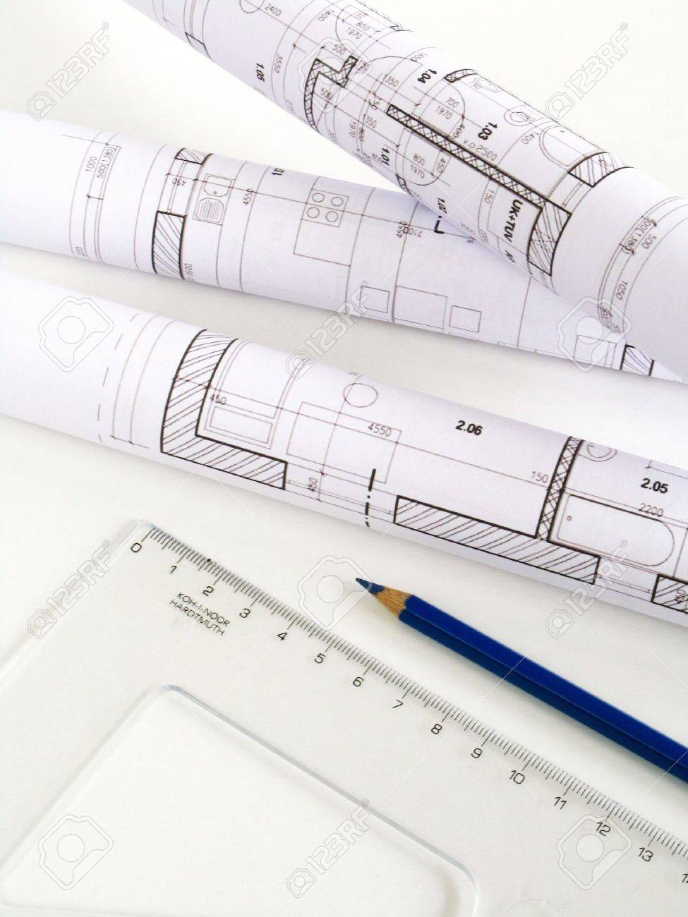 Architectural Sketch Of House Plan Stock Photo Picture And