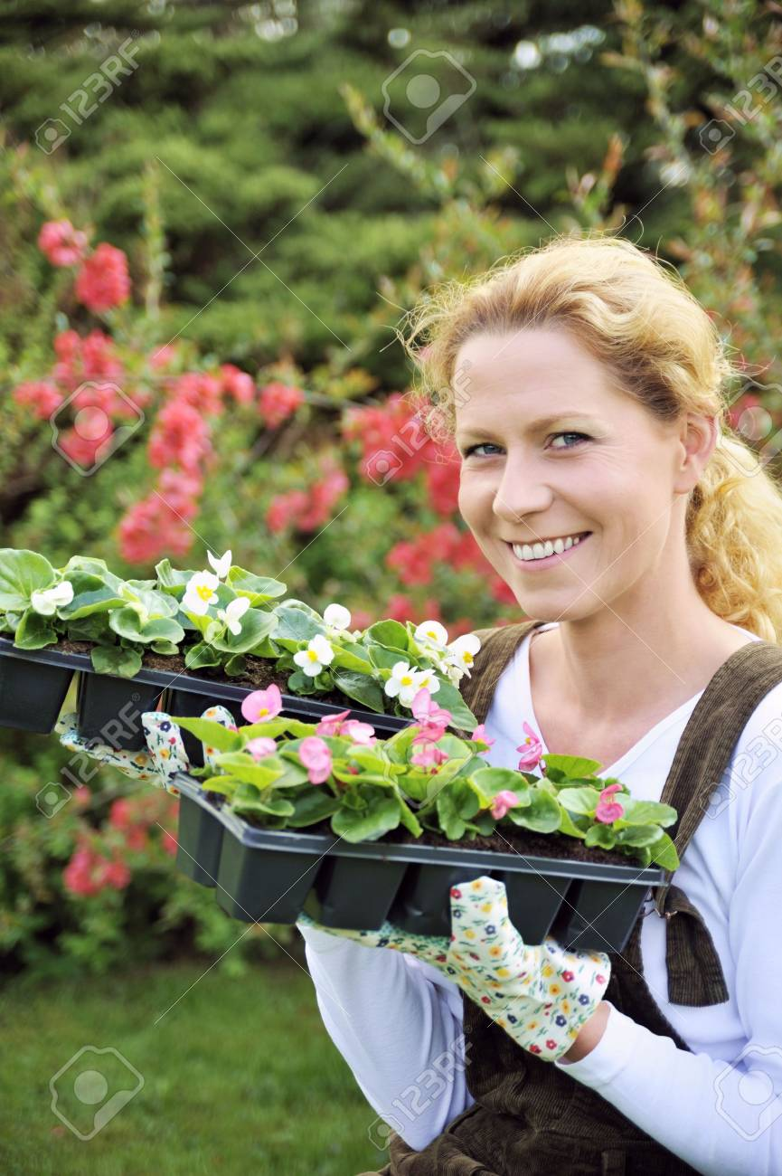 Young woman holding seedlings Stock Photo - 5604400