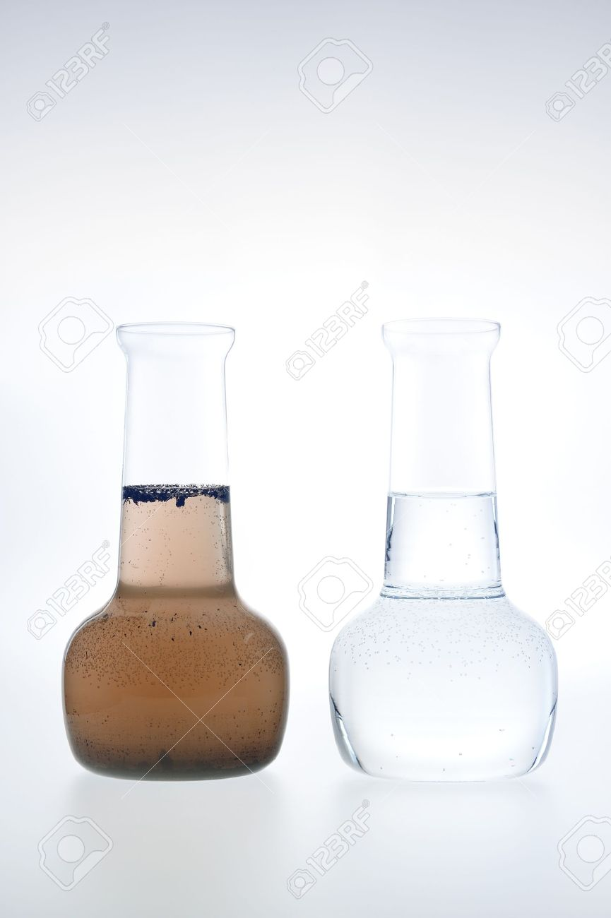 Sample of clean and dirty water isolated Stock Photo - 9380746