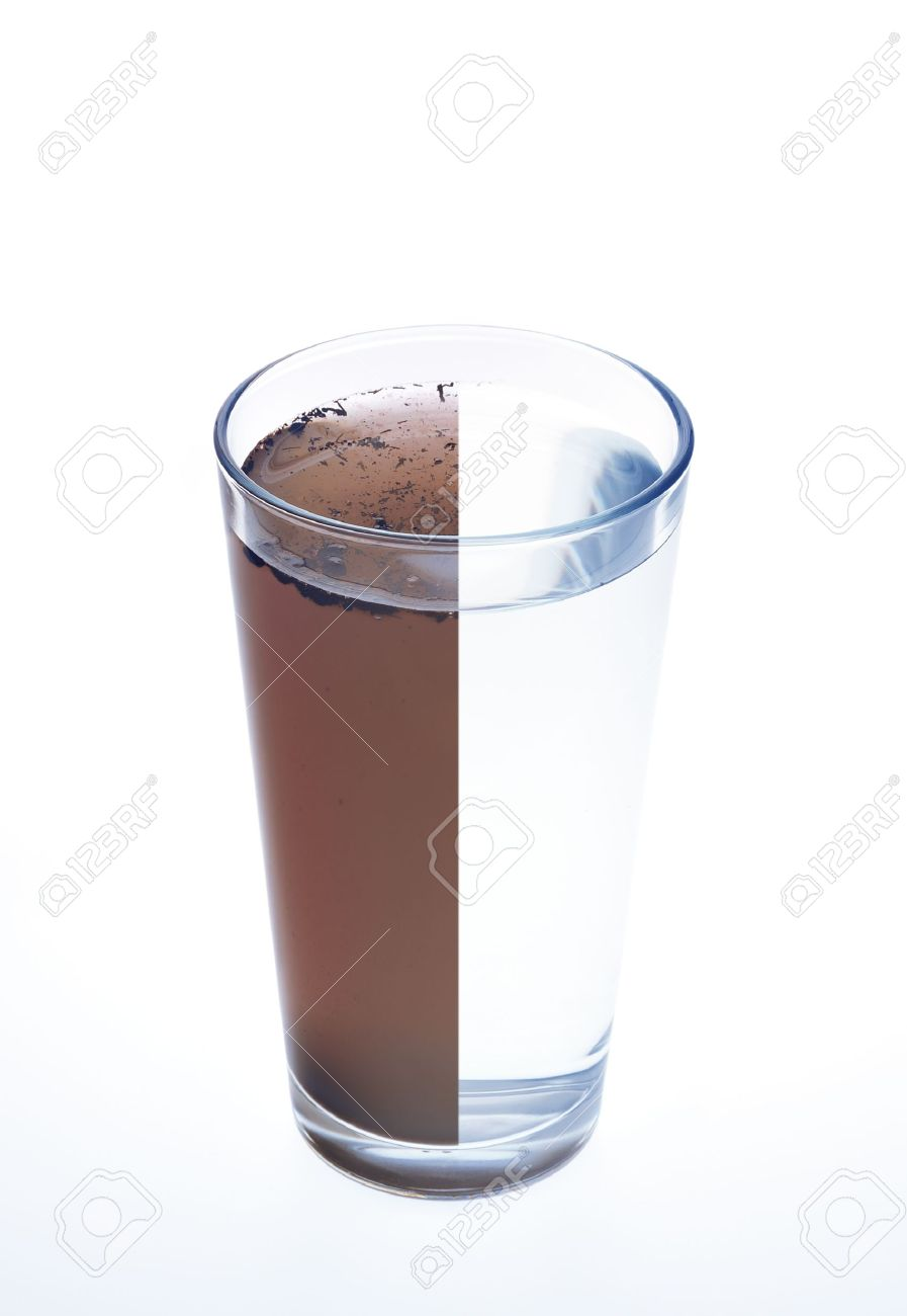 Clean and dirty water in one glass isolated on white background Stock Photo - 9380736