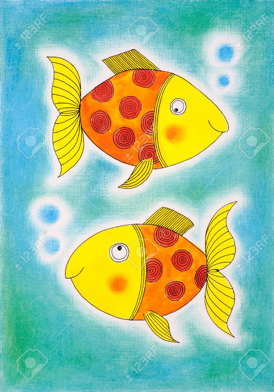 two golden fish child s drawing watercolor painting on paper stock photo 18444043 - Colour Drawing For Children