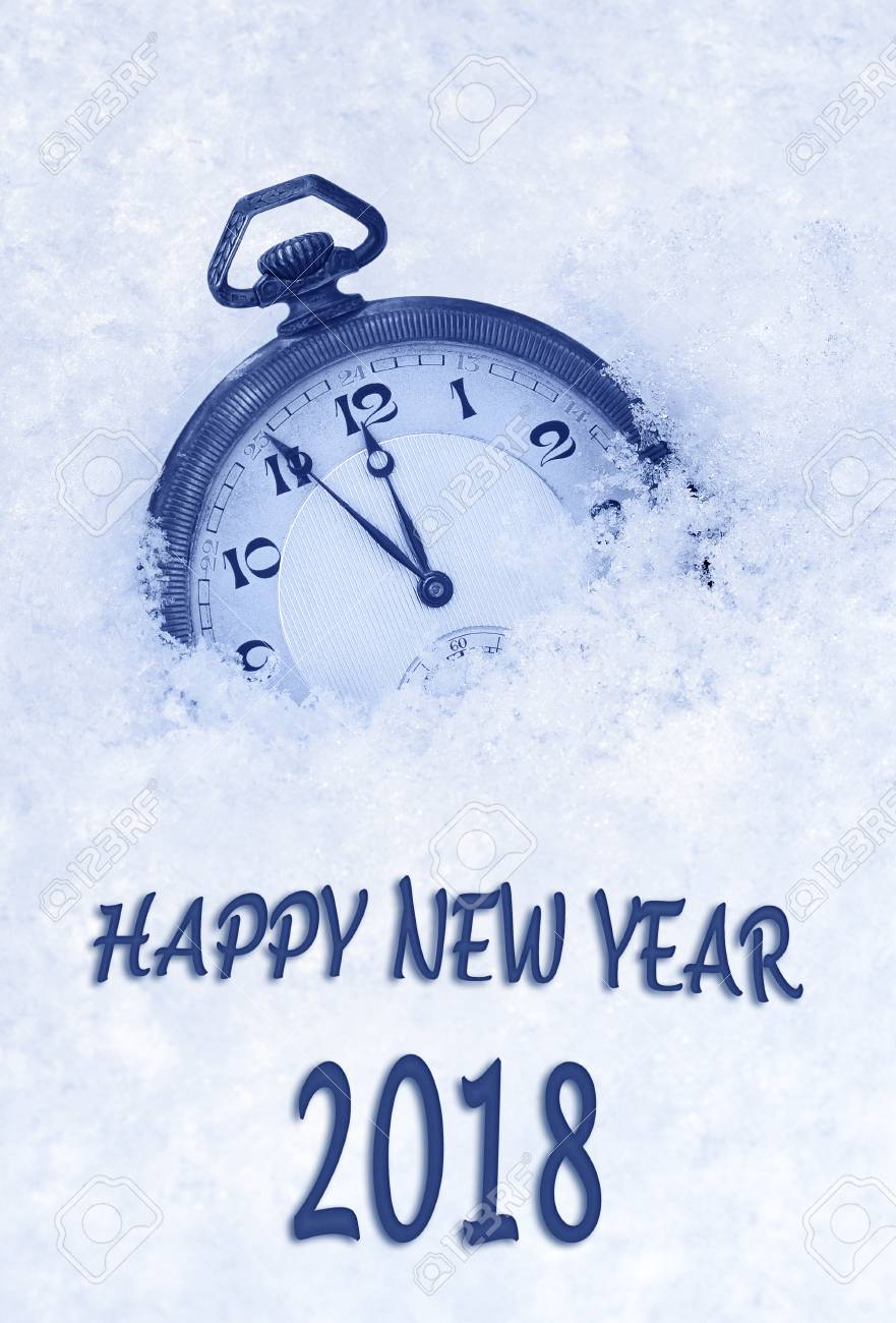 2018 New Year Greeting Card In English Language Pocket Watch