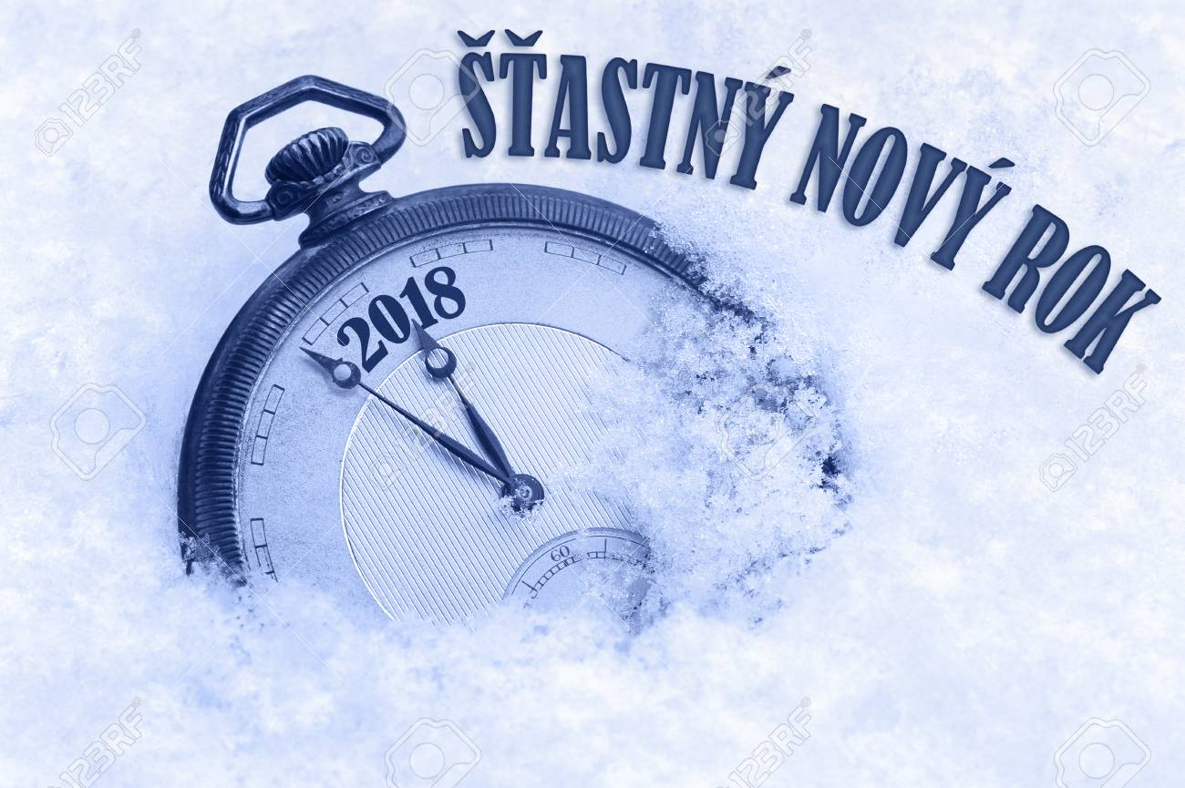 Happy New Year 2018 Greeting In Czech Language Stastny Novy Stock