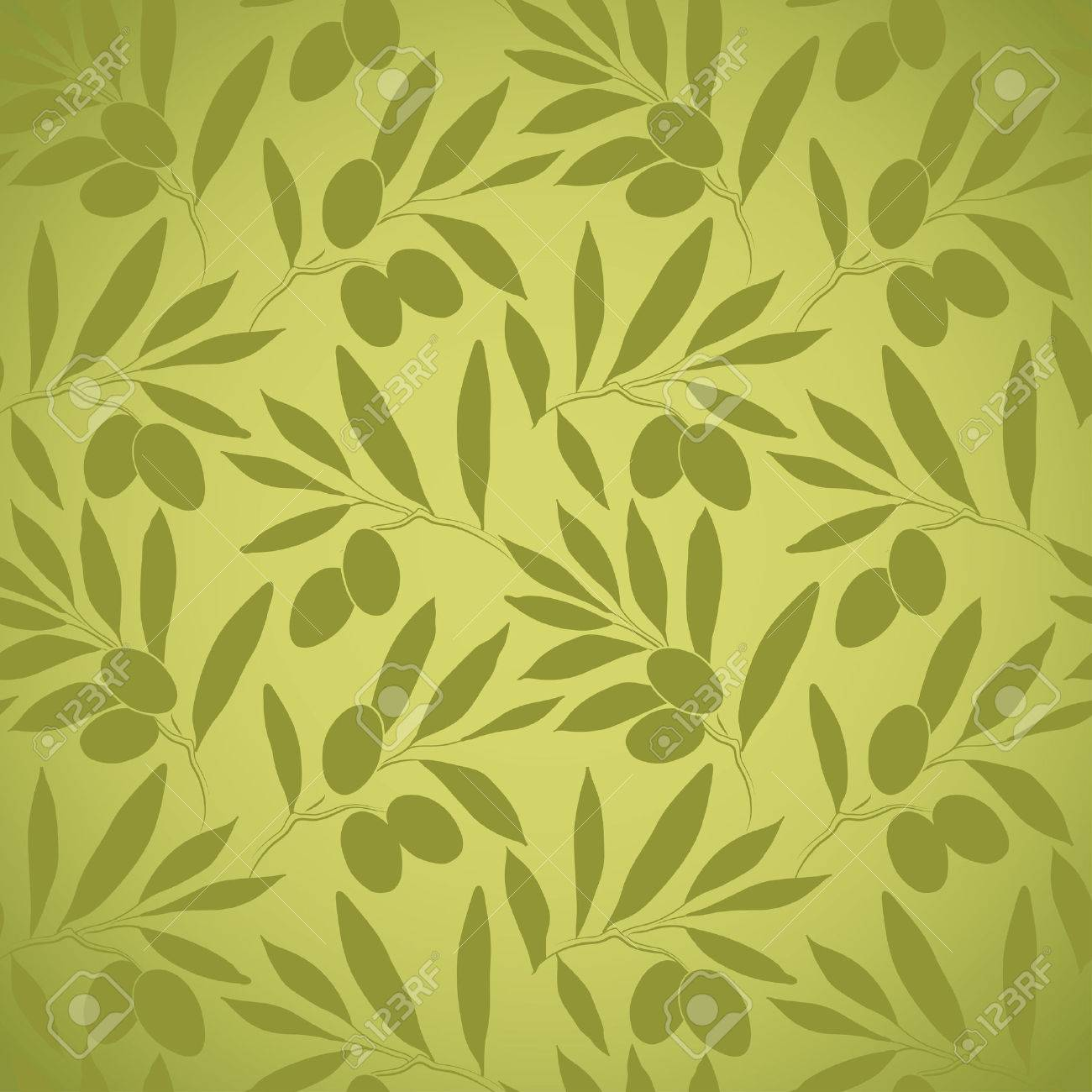 Seamless Vector Pattern Olive Branch On Paper For Labels ...