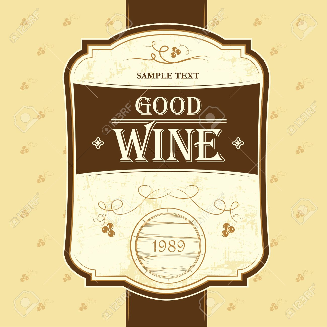 Wine Label With Grapes Wine Menu Cask, Ceg Royalty Free Cliparts ...