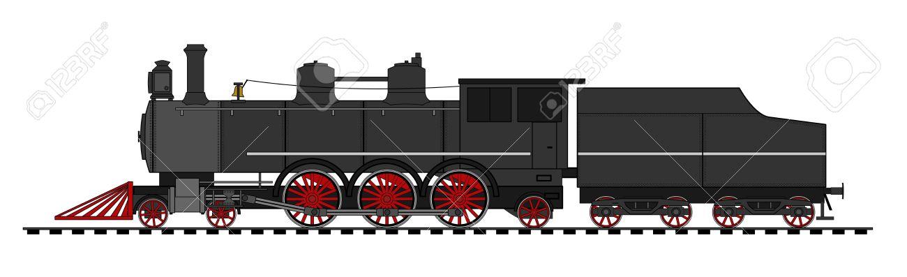 A side illustration of vintage steam lomocotive Stock Vector - 17104171