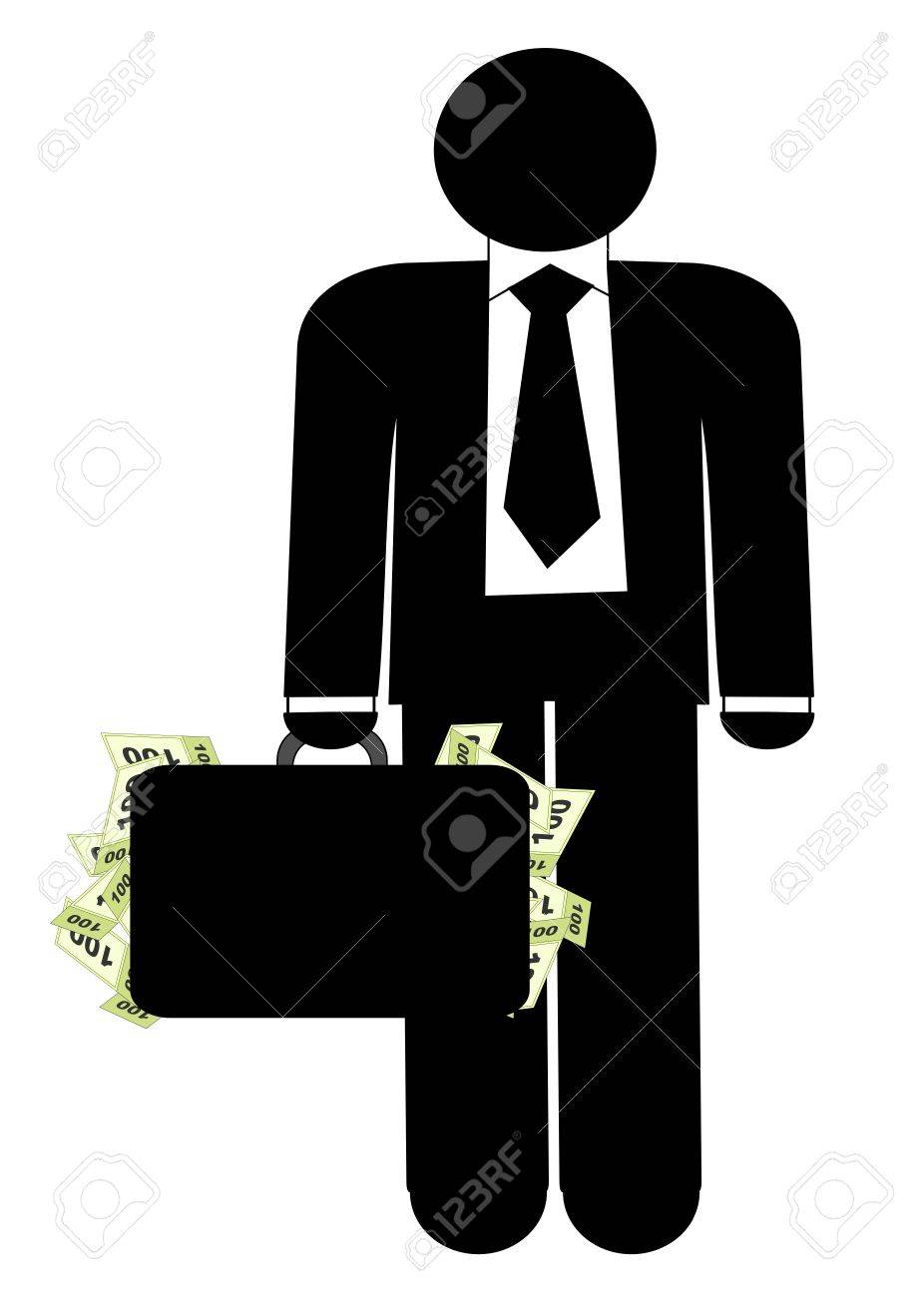 Man with briefcase of money Stock Vector - 17257173