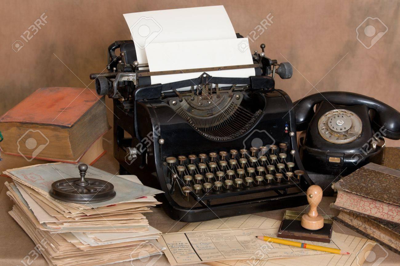 vintage office desk. Stock Photo - Vintage Office Desk