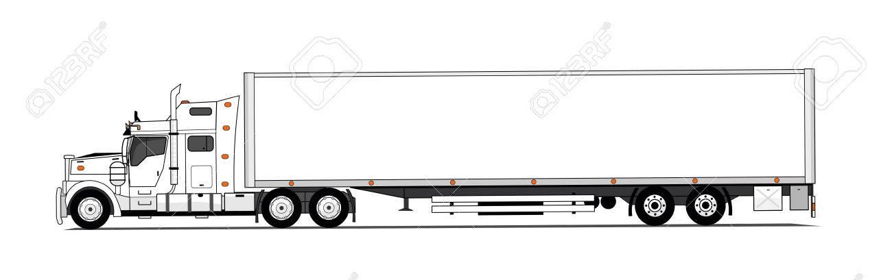 Camión de estilo americano blanco con remolque
